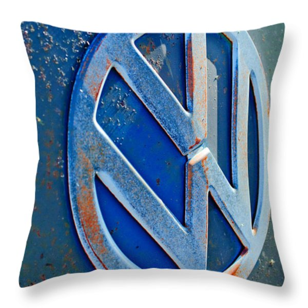 Volkswagen Vw Bus Front Emblem Throw Pillow by Jill Reger