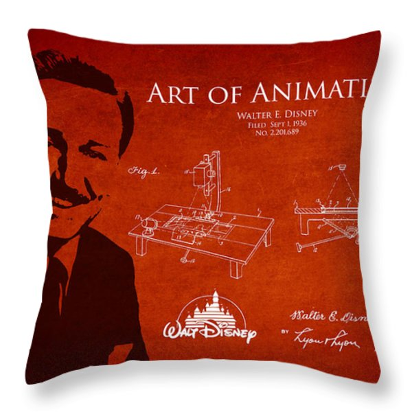 Walt Disney Patent From 1936 Throw Pillow by Aged Pixel