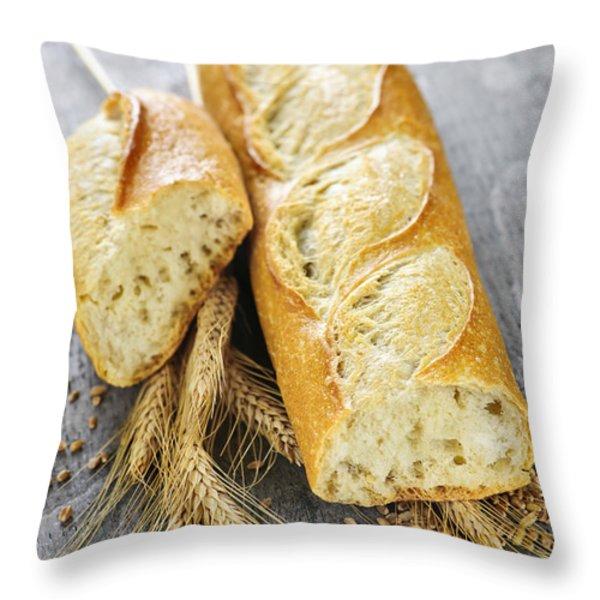 White baguette Throw Pillow by Elena Elisseeva