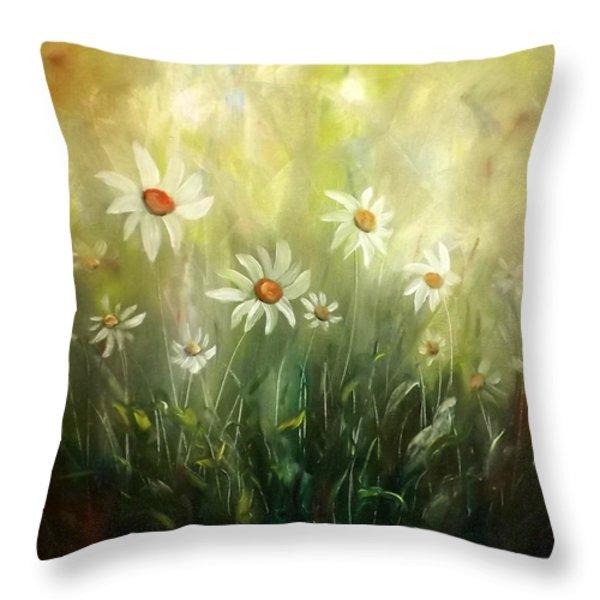 Throw Pillows - White Daisies Throw Pillow by Gina De Gorna