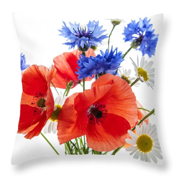 Wildflower Bouquet Throw Pillow by Elena Elisseeva