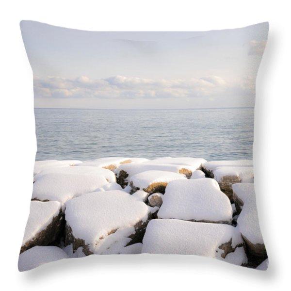Winter shore of lake Ontario Throw Pillow by Elena Elisseeva