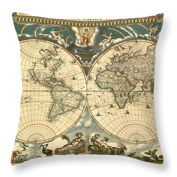 World Map Throw Pillow by Gary Grayson
