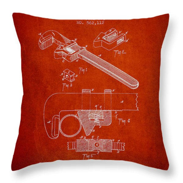 Wrench Patent Drawing From 1896 Throw Pillow by Aged Pixel