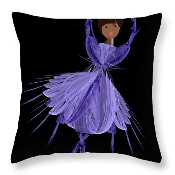 10 Blue Ballerina Throw Pillow by Andee Design