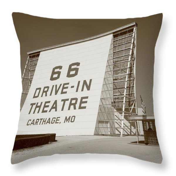 Route 66 - Drive-In Theatre Throw Pillow by Frank Romeo