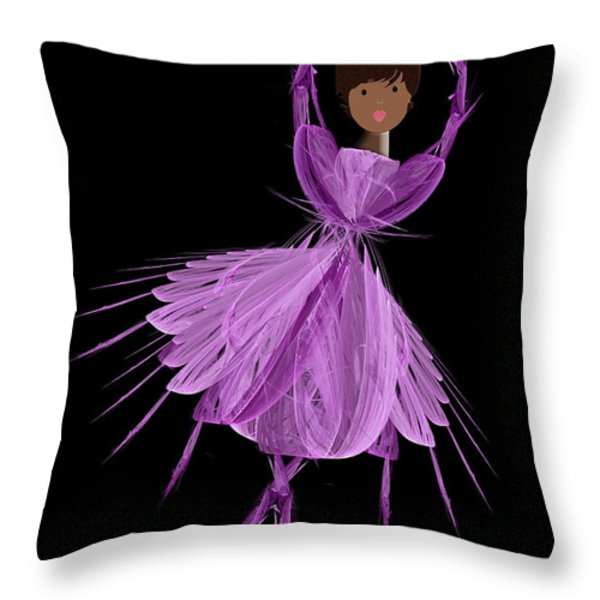 11 Purple Ballerina Throw Pillow by Andee Design