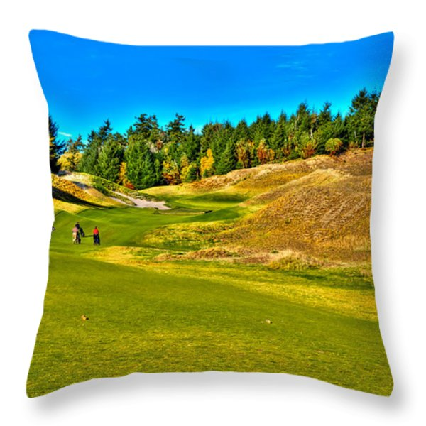 #12 at Chambers Bay Golf Course - Location of the 2015 U.S. Open Championship Throw Pillow by David Patterson