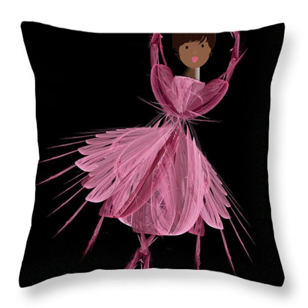 12 Pink Ballerina Throw Pillow by Andee Design