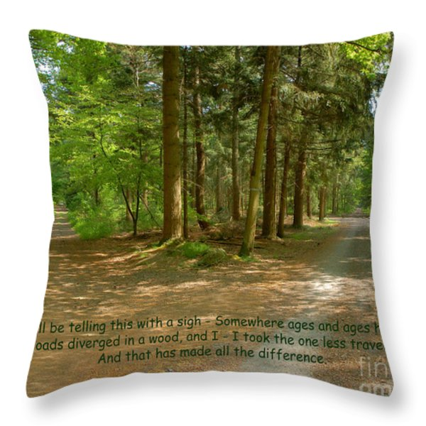 12- The Road Not Taken Throw Pillow by Joseph Keane