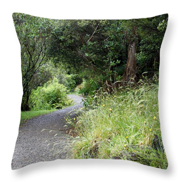 Forest Trail Throw Pillow by Les Cunliffe