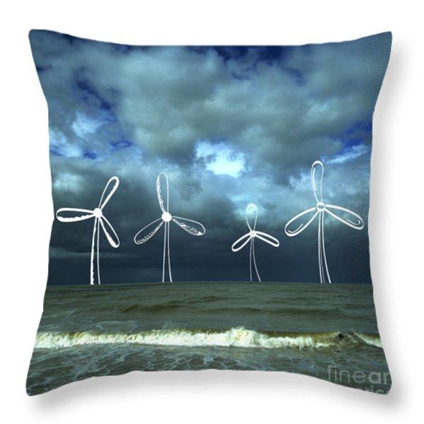 Wind Turbine Throw Pillow by Bernard Jaubert