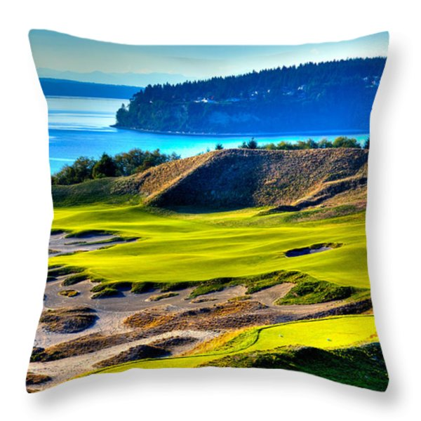 #14 at Chambers Bay Golf Course - Location of the 2015 U.S. Open Tournament Throw Pillow by David Patterson