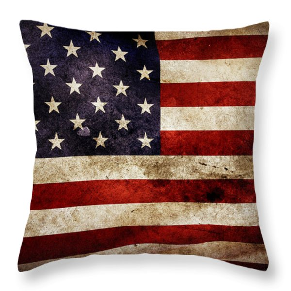 American flag Throw Pillow by Les Cunliffe