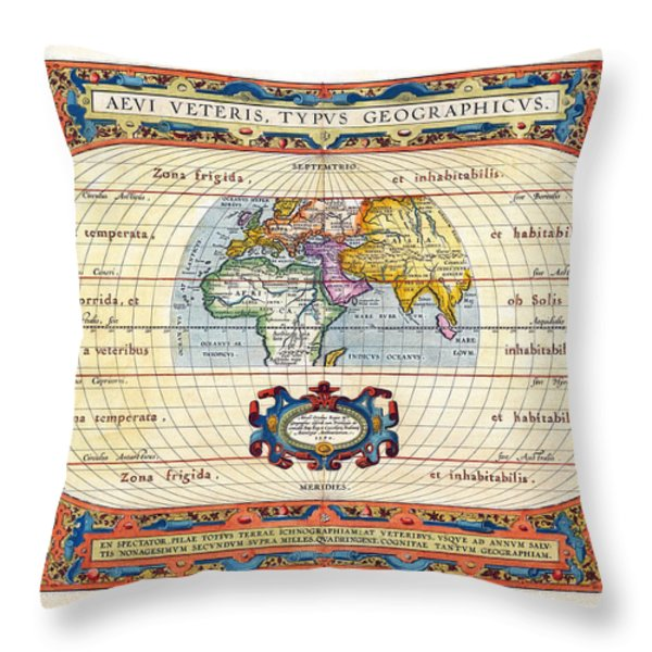 1590 Historical World Rare Map Aevi Veteris Typus Geographicus Throw Pillow by Karon Melillo DeVega