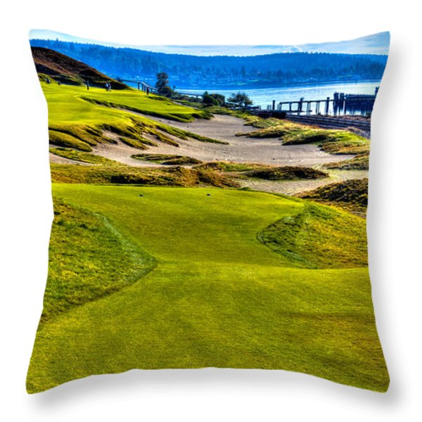 #16 at Chambers Bay Golf Course - Location of the 2015 U.S. Open Championship Throw Pillow by David Patterson