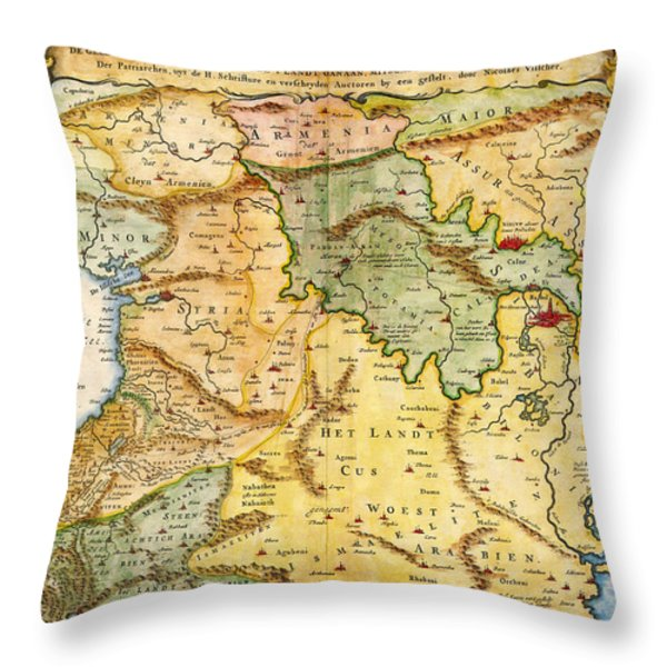 1657 Visscher Map Of The Holy Land Or The Earthly Paradise Geographicus Gelengentheyt Visscher 1657 Throw Pillow by MotionAge Designs