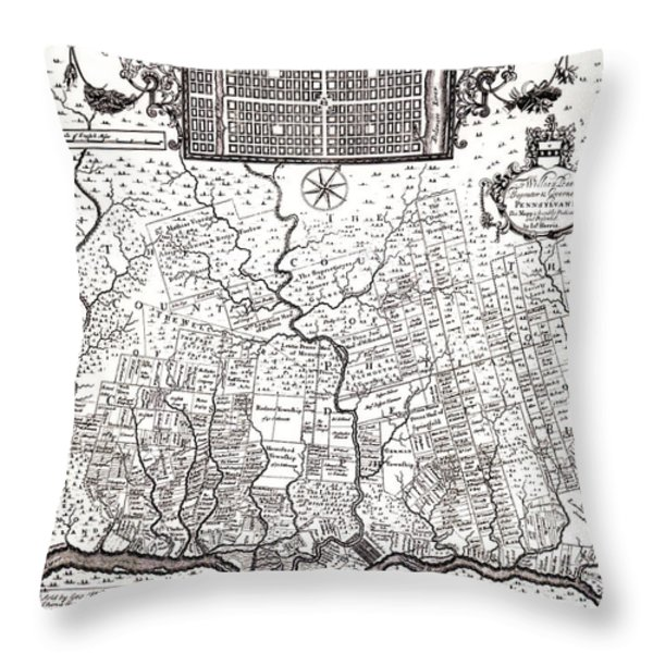 1687 Pennsylvania Map Throw Pillow by Bill Cannon