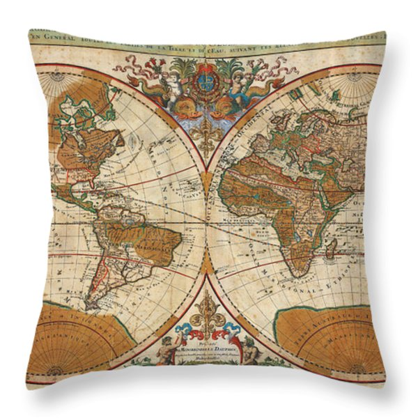 1691 Sanson Map Of The World On Hemisphere Projection Geographicus World Sanson 1691 Throw Pillow by MotionAge Designs