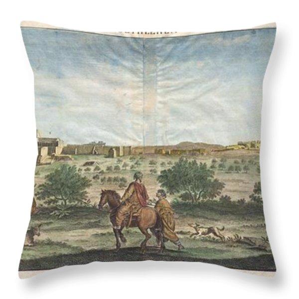 1698 De Bruijin View Of Bethlehem Palestine Israel Holy Land Geographicus Bethlehem Bruijn 1698 Throw Pillow by MotionAge Designs