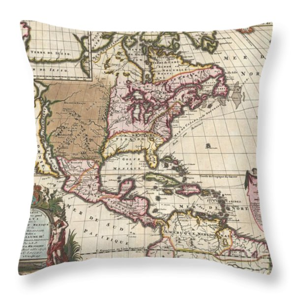 1698 Louis Hennepin Map Of North America Throw Pillow by Paul Fearn