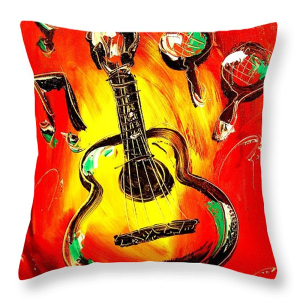 GUITAR Throw Pillow by Mark Kazav
