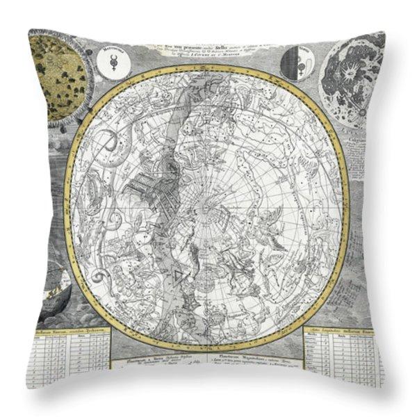 1700 CELESTIAL PLANISPHERE Throw Pillow by Daniel Hagerman