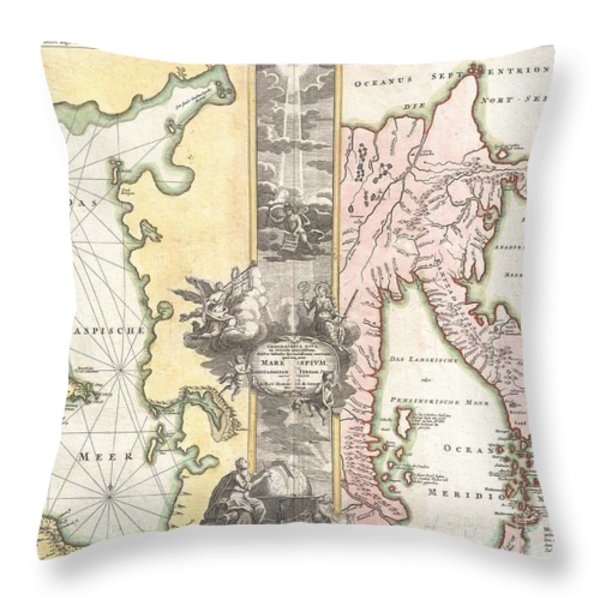 1725 Homann Map of the Caspian Sea and Kamchatka Throw Pillow by Paul Fearn