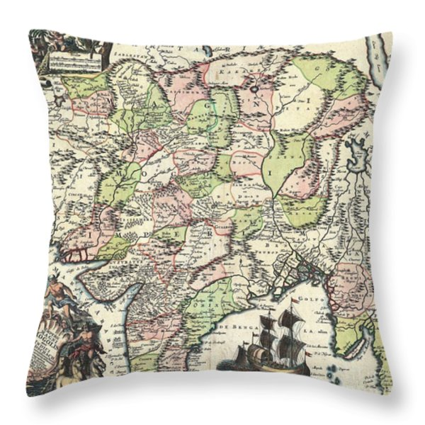 1740 Seutter Map Of India Pakistan Tibet And Afghanistan Throw Pillow by Paul Fearn