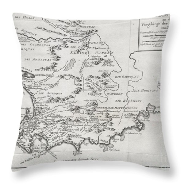 1757 Bellin Map of South Africa and the Cape of Good Hope Throw Pillow by Paul Fearn