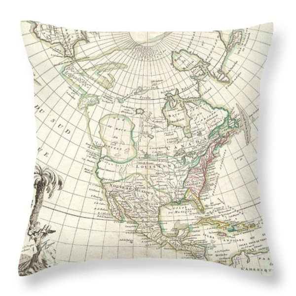 1762 Janvier Map of North America  Throw Pillow by Paul Fearn