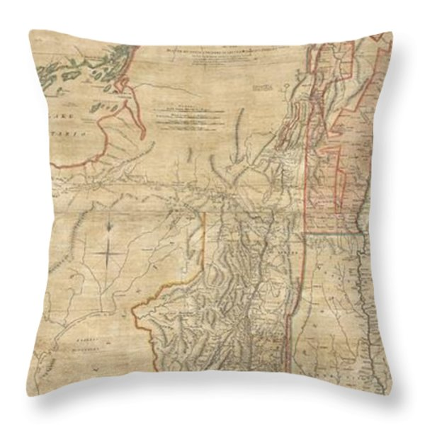1768 Holland  Jeffreys Map of New York and New Jersey  Throw Pillow by Paul Fearn