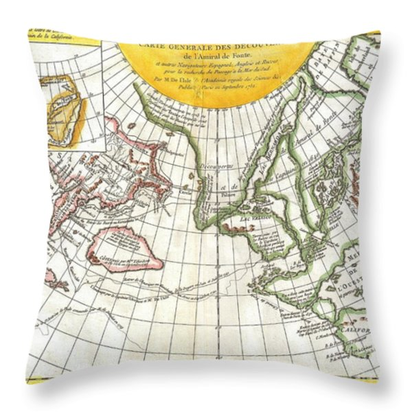 1772 Vaugondy and Diderot Map of the Pacific Northwest and the Northwest Passage Throw Pillow by Paul Fearn