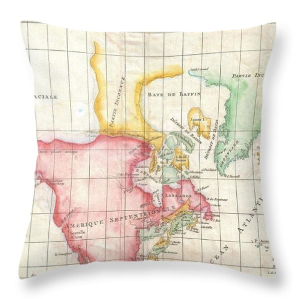 1772 Vaugondy And Diderot Map The North America Illustrating Clunys Voyages Throw Pillow by Paul Fearn