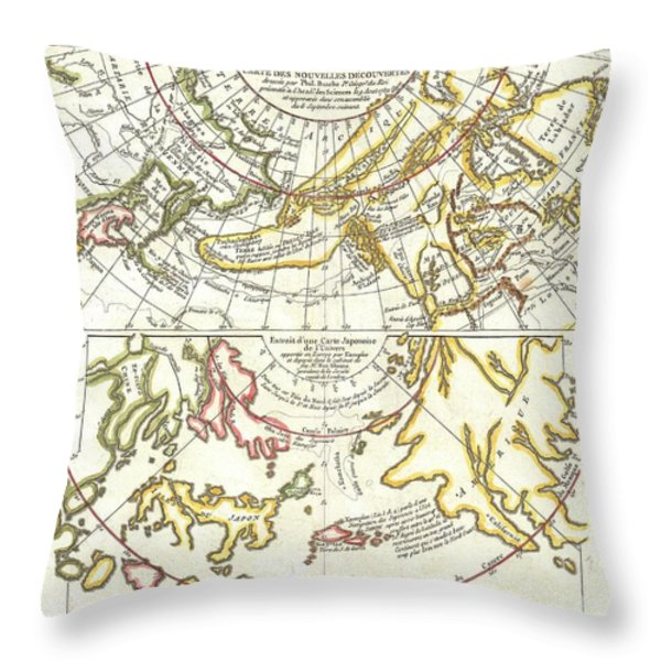 1772 Vaugondy Diderot Map of Alaska the Pacific Northwest and the Northwest Passage Throw Pillow by Paul Fearn