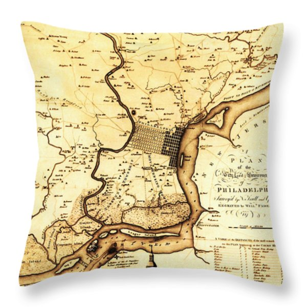1777 Philadelphia Map Throw Pillow by Scull and Heap