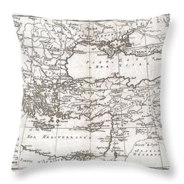 1780 Raynal and Bonne Map of Turkey in Europe and Asia Throw Pillow by Paul Fearn