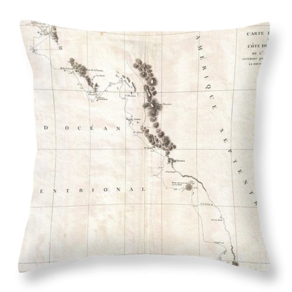1786 La Perouse Map Of Vancouver And British Columbia Canada Throw Pillow by Paul Fearn