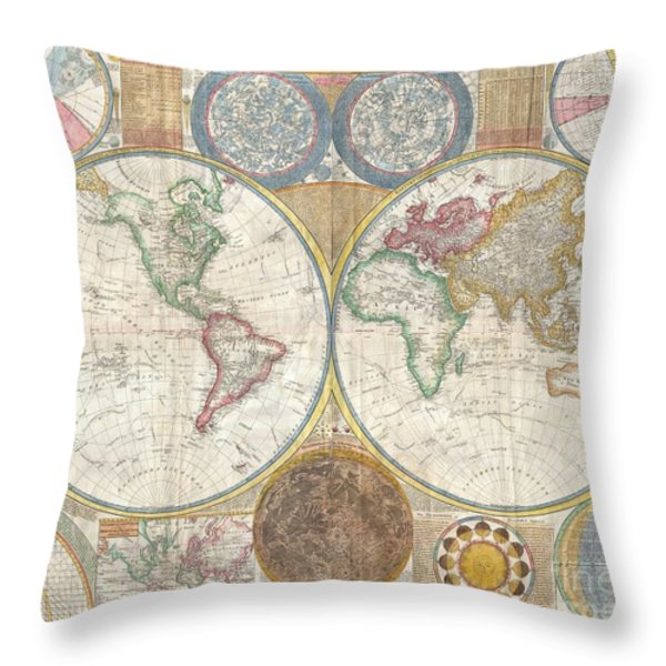1794 Samuel Dunn Wall Map of the World in Hemispheres Throw Pillow by Paul Fearn