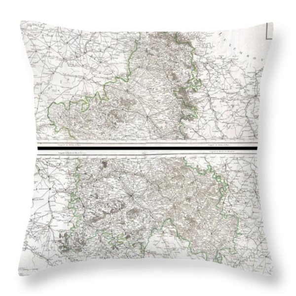 1797 Tardieu Map of Champagne France Throw Pillow by Paul Fearn