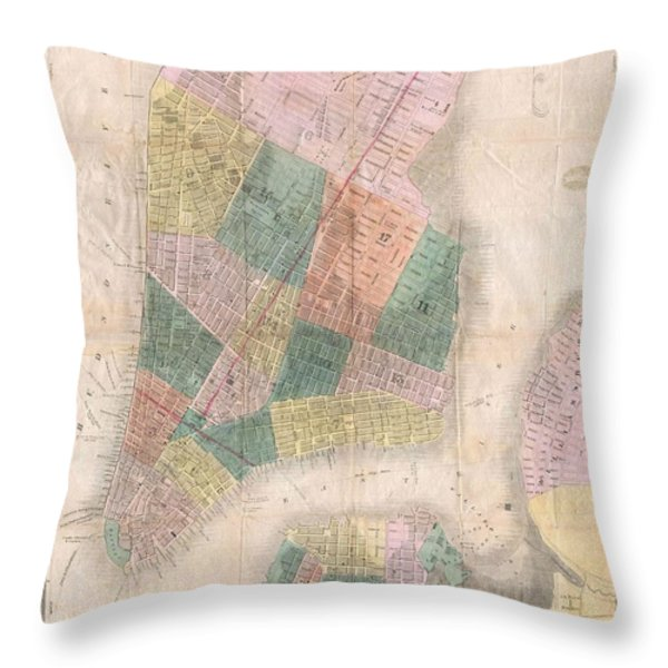 1835 David Burr Map of New York City Throw Pillow by Paul Fearn