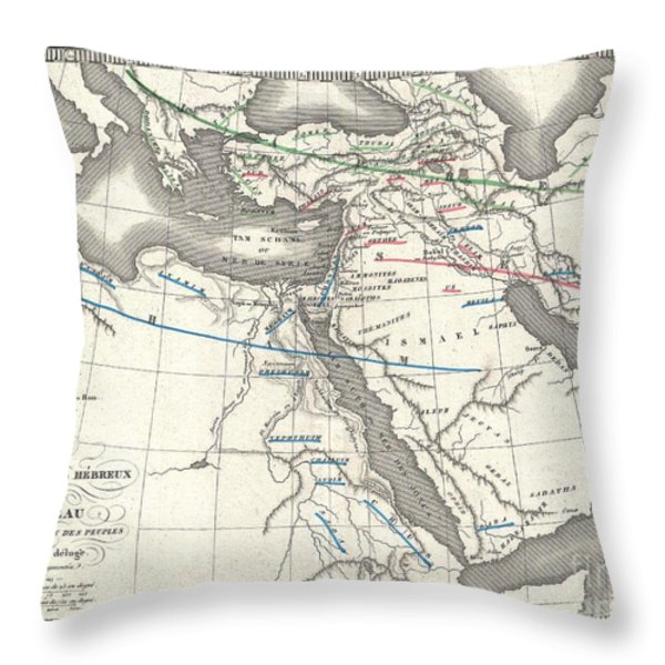 1839 Monin Map Of The Hebrew Peoples Dispersal After The Flood Throw Pillow by Paul Fearn