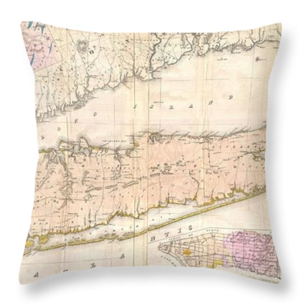 1842 Mather Map Of Long Island New York Throw Pillow by Paul Fearn