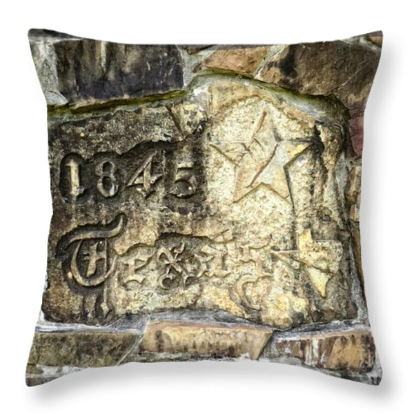 1845 Republic of Texas - Carved in Stone Throw Pillow by Ella Kaye Dickey