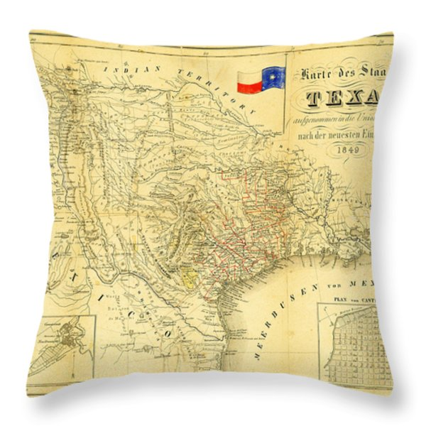 1849 Texas Map Throw Pillow by Digital Reproductions