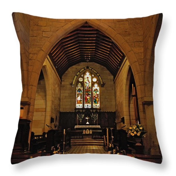 1865 - St. Jude's Church  - Interior Throw Pillow by Kaye Menner