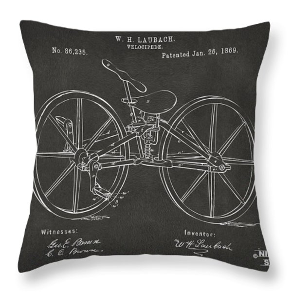1869 Velocipede Bicycle Patent Artwork - Gray Throw Pillow by Nikki Marie Smith