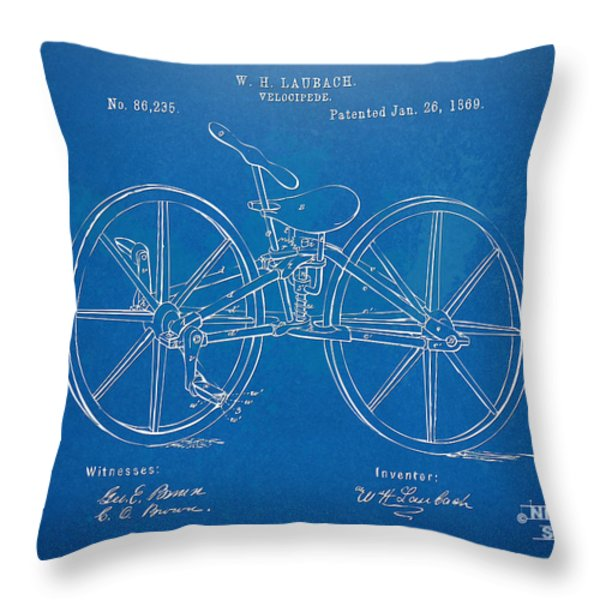 1869 Velocipede Bicycle Patent Blueprint Throw Pillow by Nikki Marie Smith
