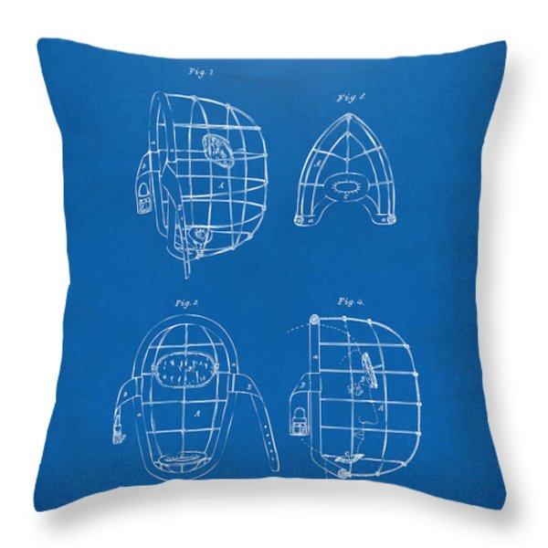 1878 Baseball Catchers Mask Patent - Blueprint Throw Pillow by Nikki Marie Smith