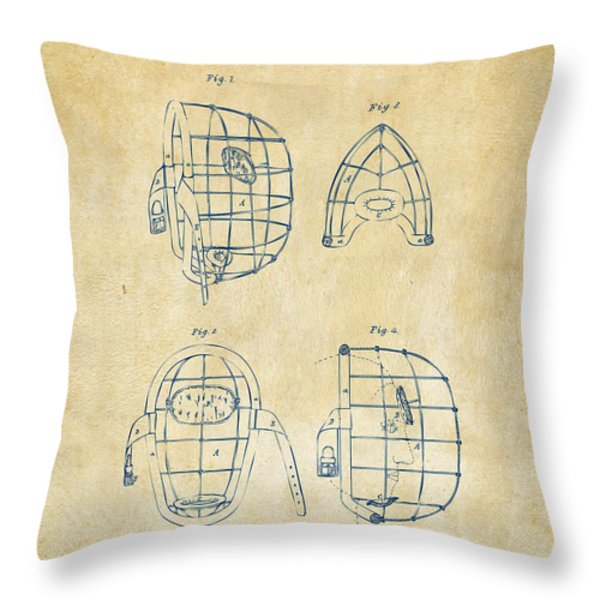1878 Baseball Catchers Mask Patent - Vintage Throw Pillow by Nikki Marie Smith
